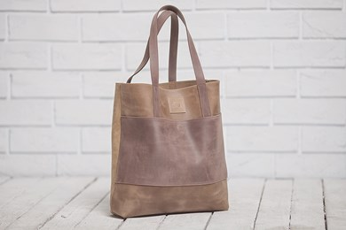 TOTE BAG // OLIVE BROWN x DARK BROWN