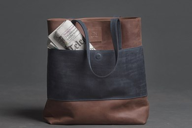 TOTE BAG // HOT BROWN x NAVY BLUE